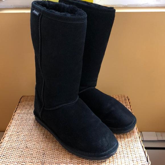 96adecf54d4048 BearPaw Shoes - BEARPAW Elle Boot BLACK Tall Suede Shearling 8